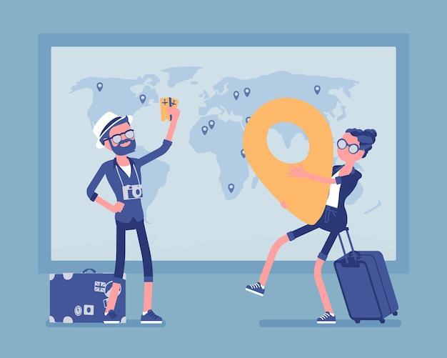 Planowanie podróży na ilustracji mapy