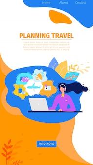 Planowanie podróży online service flat vector website