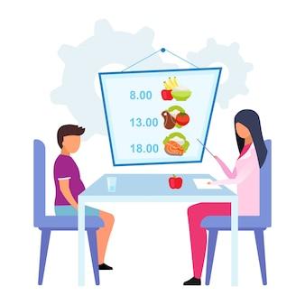 Planowanie posiłków dla dzieci płaski ilustracja. kobiety lekarka, dietetyk wyjaśnia zdrowego spożycie żywności rozkład odizolowywającego postać z kreskówki na białym tle. dietetyk pomaga otyłemu chłopcu