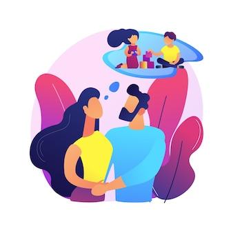Planowanie rodziny ilustracja koncepcja streszczenie. usługi w zakresie zdrowia reprodukcyjnego, konsultacje rodzinne, opieka zdrowotna kobiet, wybór metody antykoncepcji, planowanie ciąży.