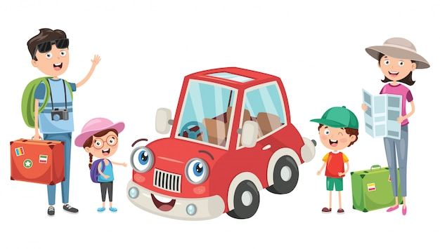 Planowanie rodziny na wakacje z zabawnym samochodem