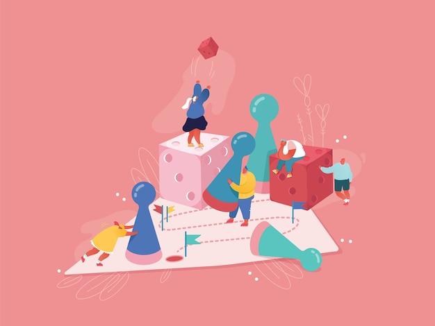 Planowanie strategiczne, koncepcja pracy zespołowej. postacie ludzi grających w gry planszowe, rzucających kostką. ryzyko biznesowe i koncepcja hazardu. zwycięska ilustracja płci męskiej i żeńskiej. kreskówka