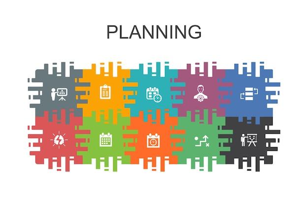 Planowanie szablonu kreskówki z płaskimi elementami. zawiera takie ikony jak kalendarz, harmonogram, harmonogram, plan działania