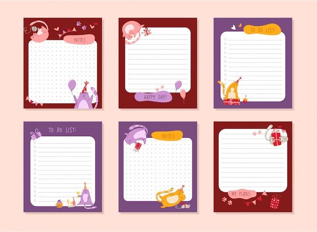Planowanie urodzin kotów lub osobisty organizer papeterii lub zestaw naklejek z notatkami i listą do zrobienia na codzienne plany