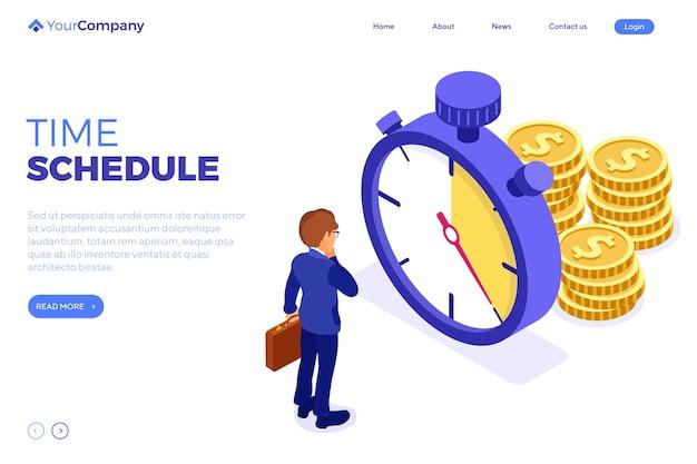 Planowanie zarządzania czasem harmonogramu z pieniędzmi ze stopera i biznesmenem z teczką przed upływem terminu. szablon strony docelowej. izometryczny infografiki biznes na białym tle