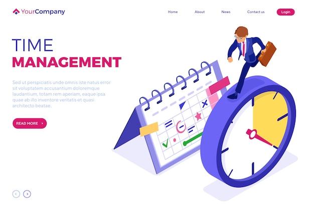 Planowanie zarządzania czasem za pomocą kalendarza ze stoperem i biznesmena z teczką przed upływem terminu. infografiki izometryczne strony docelowej. biznes