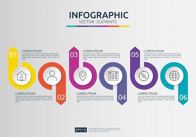 Plansza 6 kroków. szablon projektu osi czasu z papierową etykietą 3d