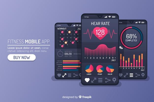 Plansza aplikacja mobilna fitness płaskie