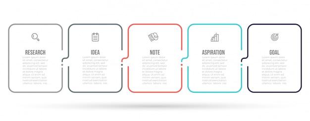 Plansza cienka linia projekt etykiety z ikonami marketingu i 5 opcji lub kroków.