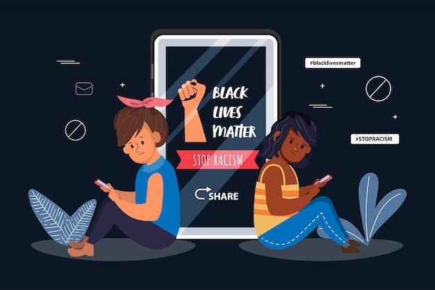Plansza czarne tło sprawa życia. wirus w mediach społecznościowych walczy przeciwko rasizmowi.