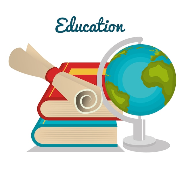 Plansza edukacja płaskie ikony