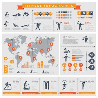 Plansza fitness. sport styl życia zdrowi ludzie robią ćwiczenia w siłowni lub odkryty plansza szablon