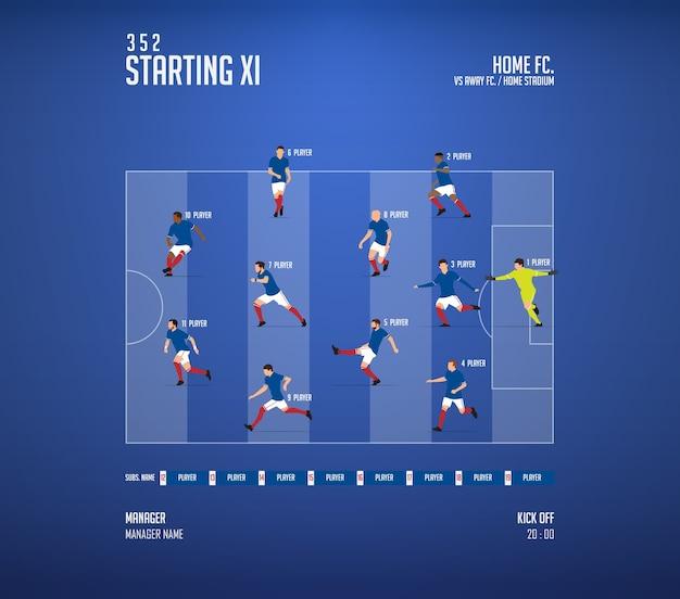 Plansza formacji składów meczu piłki nożnej lub piłki nożnej.