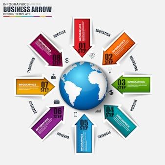 Plansza globalnego biznesu wektor wzór szablonu. może być stosowany do przepływu pracy.