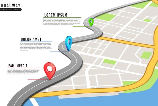 Plansza jezdni. mapa lokalizacji, przypięte punkty autostrad z informacjami. mapa miasta i lokalizacje nawigacji gps.