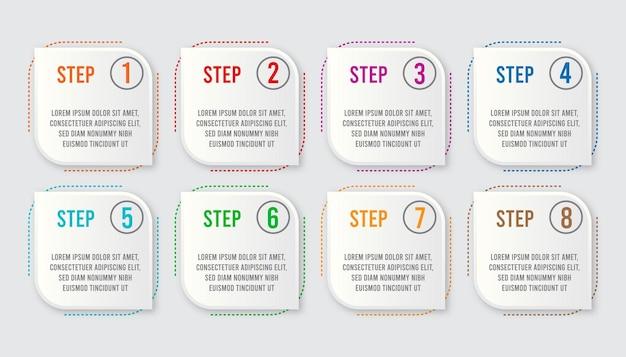 Plansza koncepcja dla biznesu. 8 kroków projektowania etykiet infografiki
