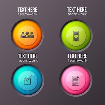 Plansza koncepcja z czterema pojedynczymi błyszczącymi okrągłymi przyciskami z piktogramami biznesowymi i edytowalnym tekstem