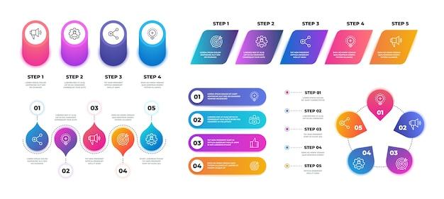 Plansza krok. wykres osi czasu, szablon prezentacji biznesowej przepływu pracy, struktura schematu blokowego. technologia realistycznych banerów graficznych