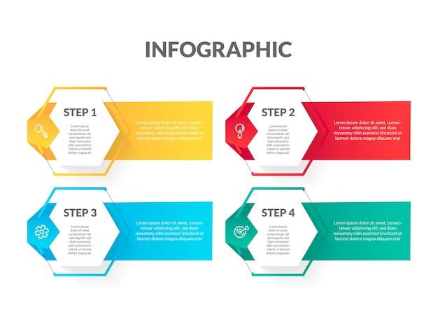 Plansza kształt nowoczesny kolorowy sześciokąt. idealny do prezentacji, diagramów procesów, przepływu pracy i banerów