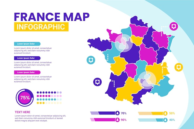 Plansza mapa francji w płaskiej konstrukcji