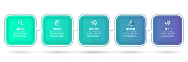 Plansza na osi czasu. nowoczesny projekt koncepcyjny z ikonami i 5 opcjami lub krokami.