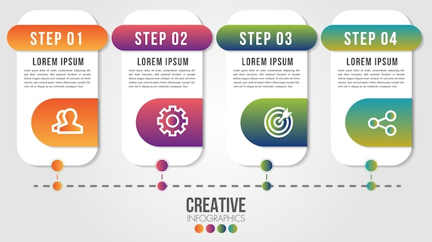 Plansza nowoczesny szablon projektu osi czasu dla biznesu z ilustracjami kroków lub opcji