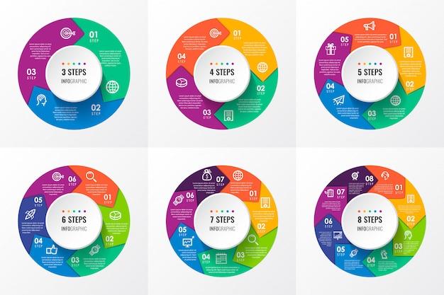 Plansza okrągłe strzałki z ikonami oraz 3, 4, 5, 6, 7, 8 opcji lub kroków. pomysł na biznes.