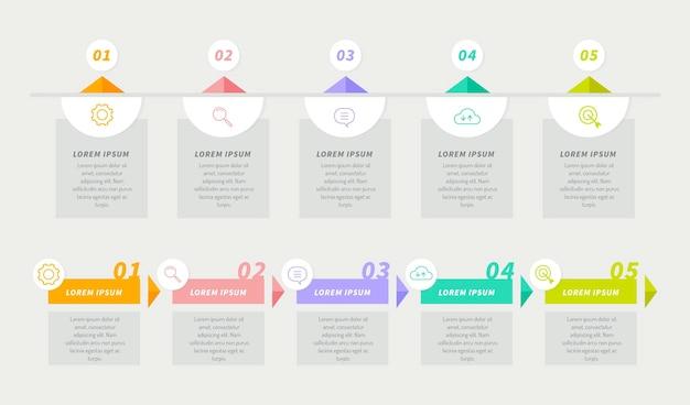 Plansza osi czasu płaska konstrukcja w różnych kolorach
