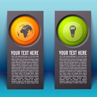 Plansza pionowe banery z tekstem i kolorowe okrągłe przyciski z ikonami biznesu na białym tle