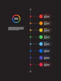 Plansza pionowej osi czasu z okrągłymi elementami na czarnym tle. nowoczesna wizualizacja procesów biznesowych z ikonami linii marketingowych.