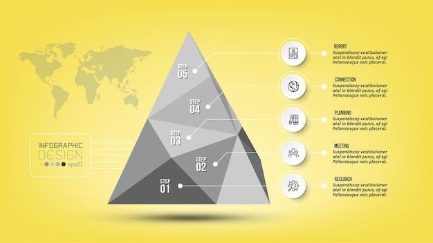 Plansza piramidy koncepcji biznesowej z krokiem lub opcją