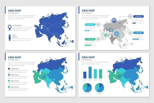 Plansza Płaska Mapa Azji Darmowych Wektorów