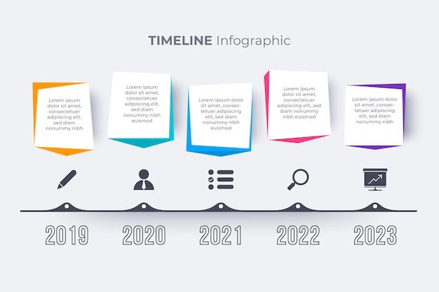 Plansza płaski kolorowy osi czasu