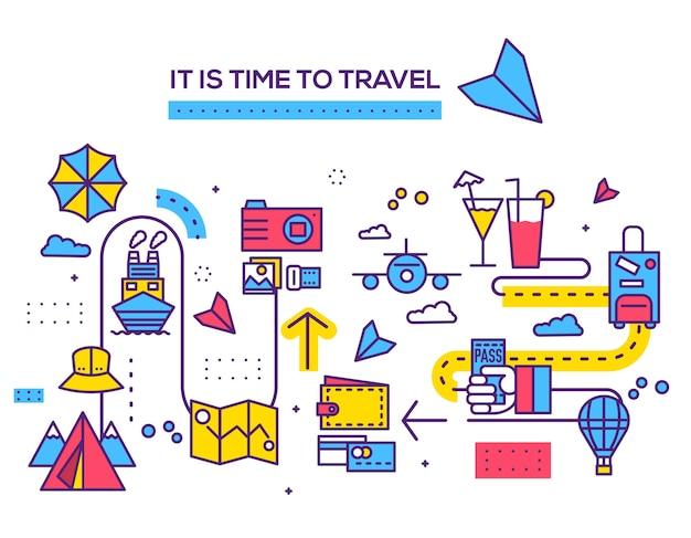 Plansza podróży ikony elementów projektu