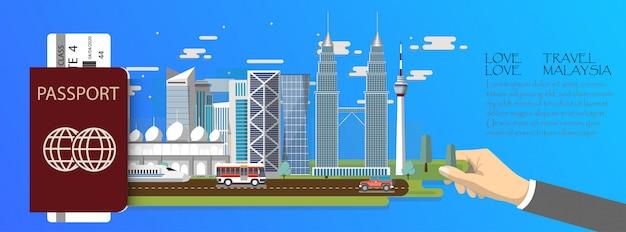 Plansza podróży infografika malezja