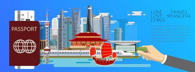 Plansza podróży infografikę shanghai