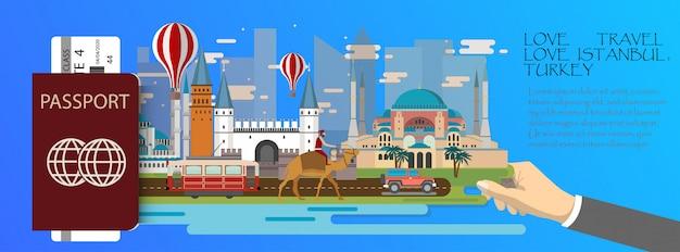 Plansza podróży infografikę turcja