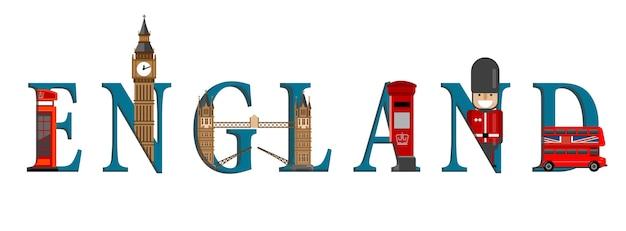 Plansza podróży. plansza w anglii, napisy w anglii i słynne zabytki