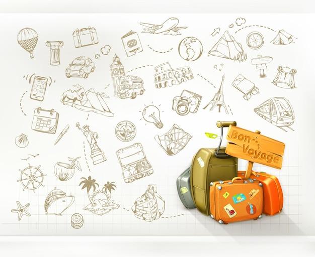 Plansza podróży szablon z walizkami