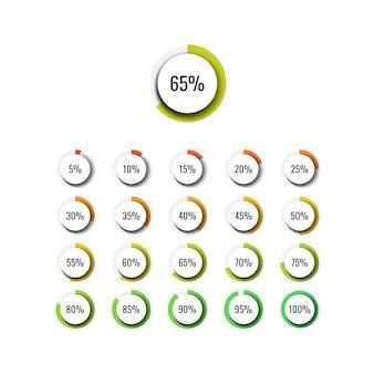 Plansza procent zestaw okrągłych realistycznych elementów na białym tle. nowoczesna wizualizacja danych biznesowych za pomocą pól tekstowych.