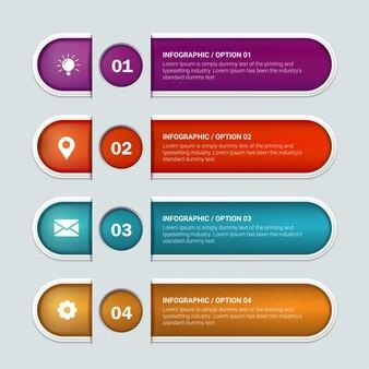 Plansza projekt etykiety z 4 opcjami lub krokami. infografiki dla koncepcji biznesowej.
