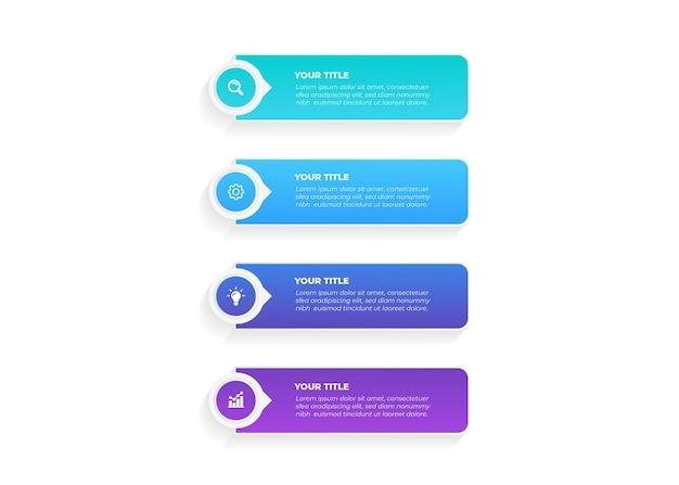 Plansza projekt strzałki z 4 opcjami lub infografikami kroków dla koncepcji biznesowej