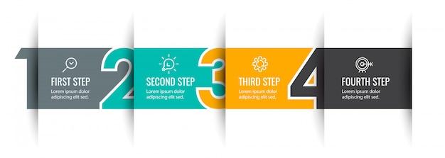 Plansza projekt strzałki z 4 opcjami lub krokami. infografiki dla koncepcji biznesowej.
