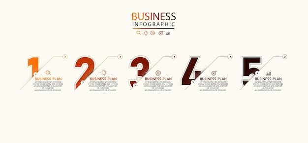 Plansza projekt strzałki z 5 opcjami lub infografikami kroków dla pomysłów biznesowych może być używany do prezentacji, edukacji, banerów biznesowych.