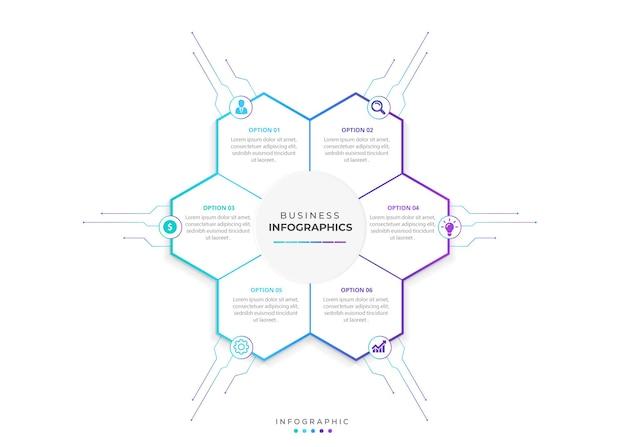 Plansza projekt strzałki z 6 opcjami lub infografikami kroków dla koncepcji biznesowej