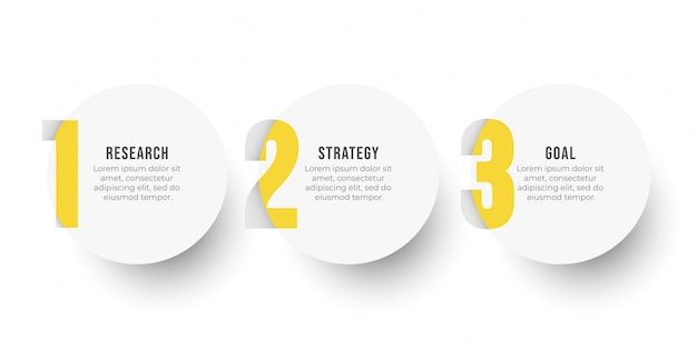 Plansza projekt szablonu etykiety z opcjami koło i numer. koncepcja biznesowa z 3 krokami lub procesami.
