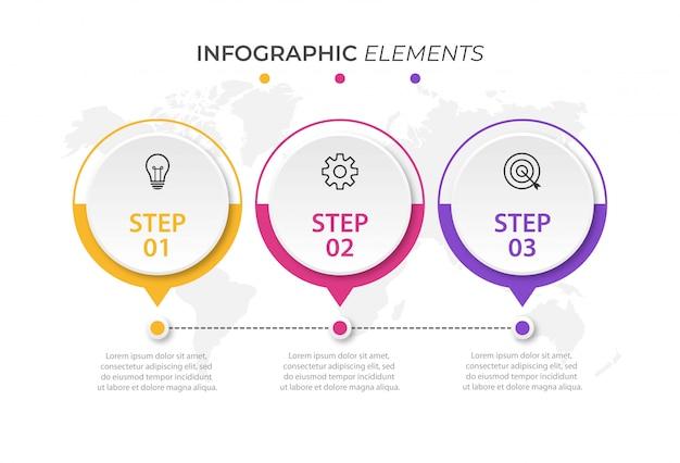 Plansza projekt szablonu z 3 opcjami lub krokami
