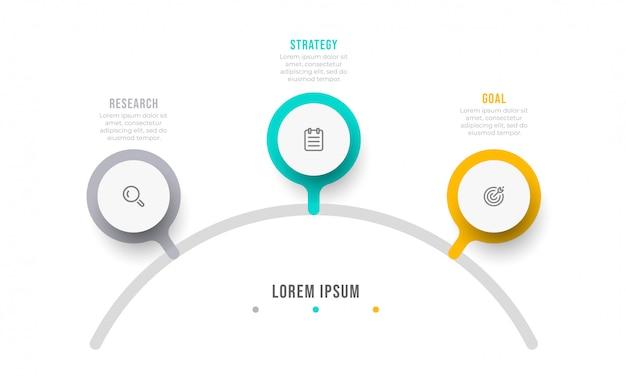 Plansza projekt szablonu z ikonami marketingu. tabela procesów koncepcja biznesowa z 3 opcjami lub krokami.