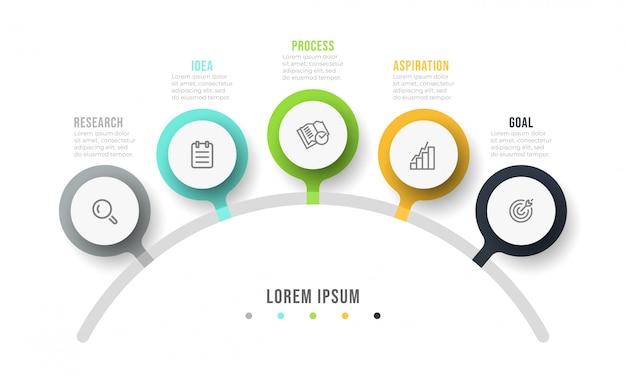 Plansza projekt szablonu z ikonami marketingu. tabela procesów koncepcja biznesowa z 5 opcjami lub krokami.
