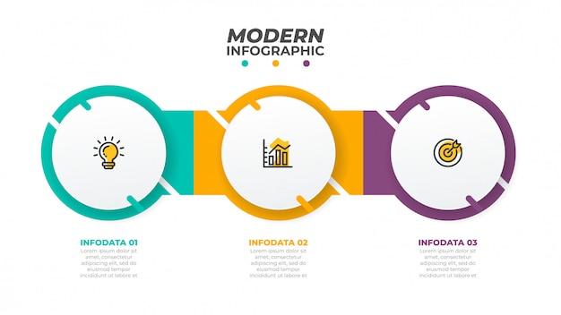 Plansza projekt szablonu z koła. koncepcja biznesowa z 3 opcjami, kroki. może być stosowany do schematu przepływu pracy, wykresu informacyjnego, wykresu, projektowania stron internetowych. wektor